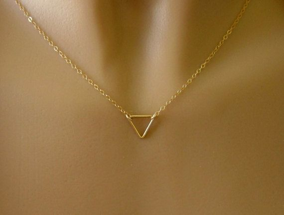 850200f9093b Minimalist Gold Triangle Necklace - Simple - Small - Dainty. $26.00 ...