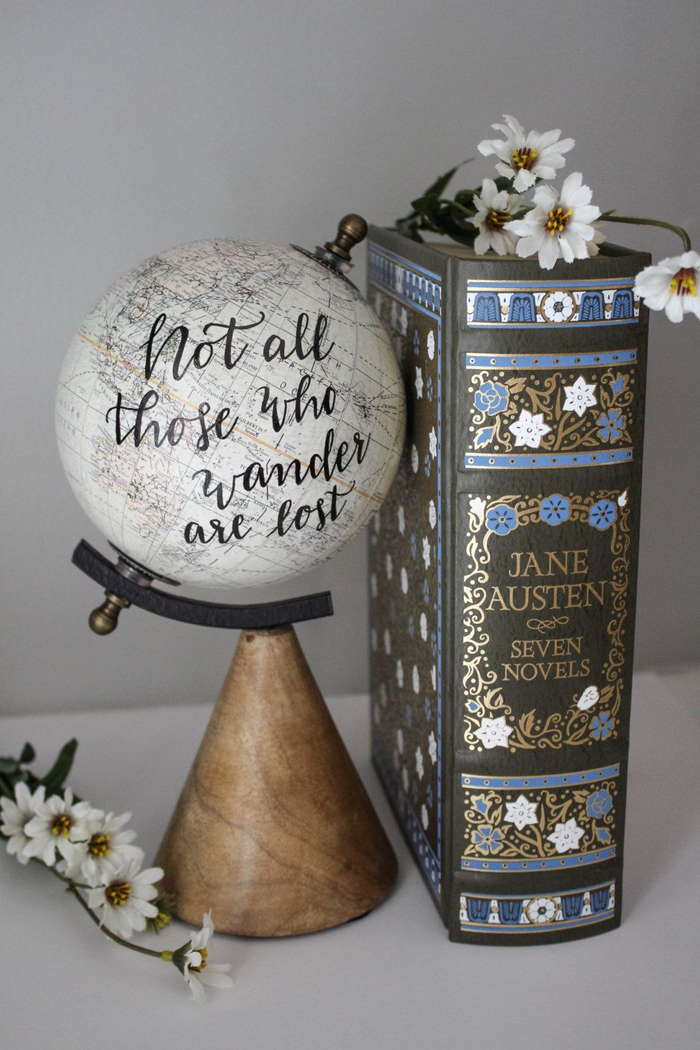 Not All Those Who Wander Are Lost Small, White Globe, Calligraphy, Travel