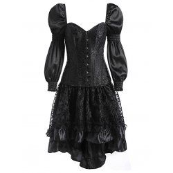 wholesale high low two piece corset dress 2xl black online