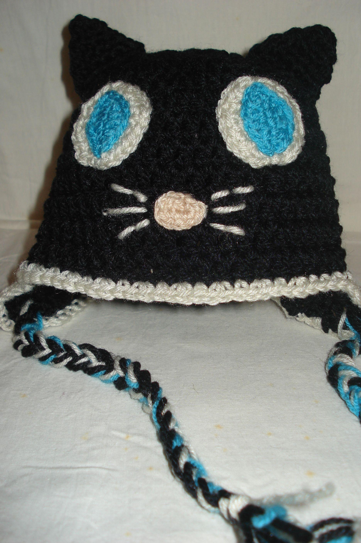 Gorro gato ojos azules ganchillo #gorro #winter #ganchillo #crochet ...