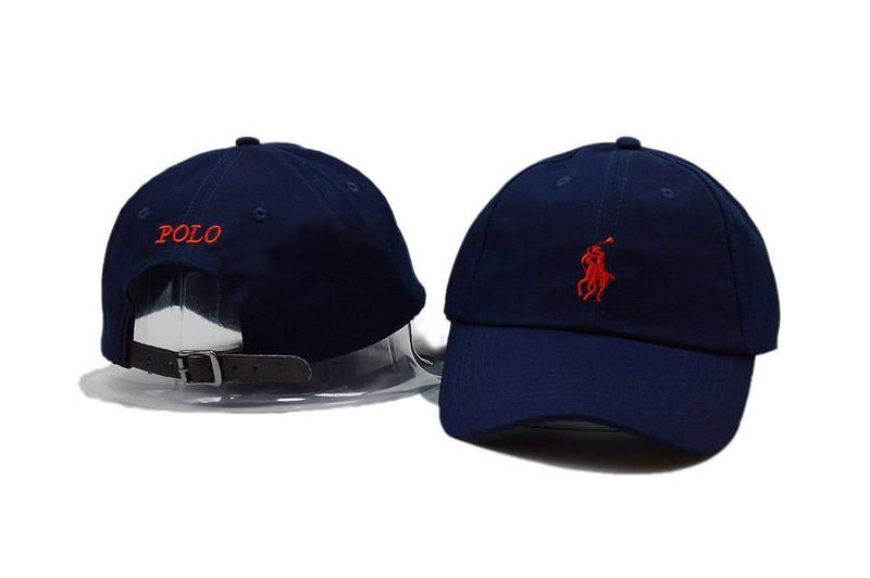155fff47 Mens / Womens Unisex Polo Ralph Lauren Small Pony Embroidery Leather Strap  Back Baseball Adjustable Hat - Navy / Red