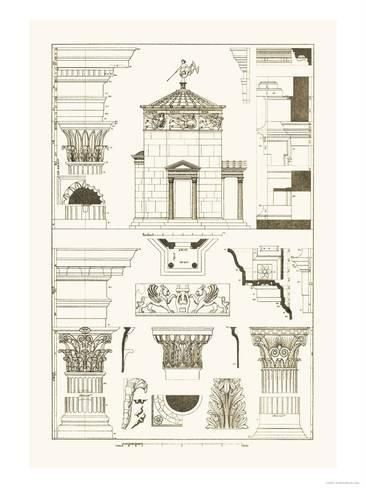 Art Print Tower Of The Winds And Stoa Of Hadrian Poster By J Buhlmann 24x18in Renaissance Architecture Drawings Renaissance Artists