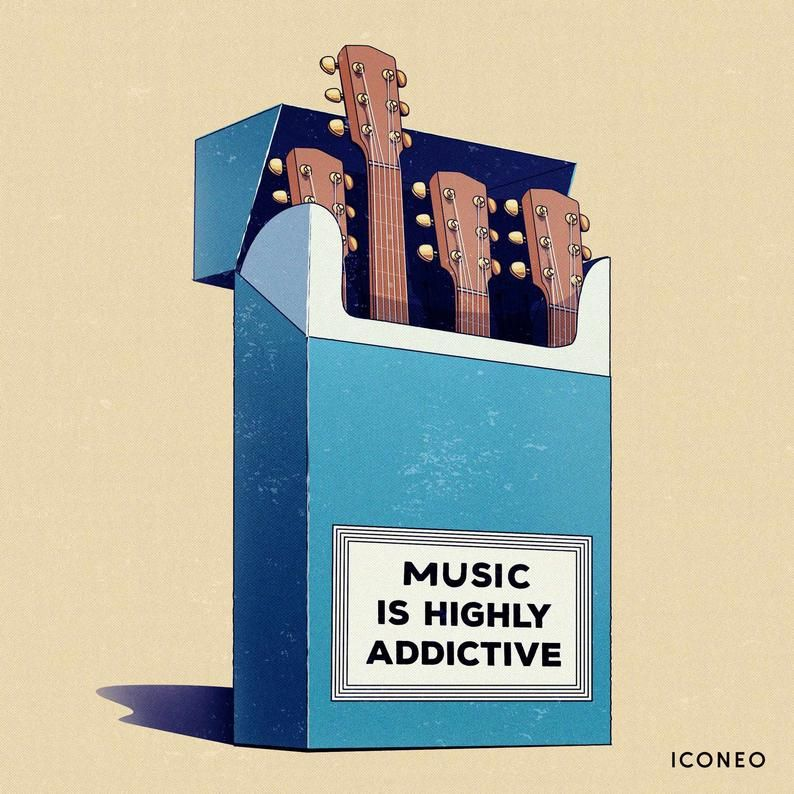 Music is highly addictive / BY ICONEO / piano keys / poster, card, fine art print. For music lovers,