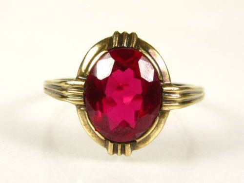 Antique Oval Red Spinel Ring 10k Yellow Gold  by GranvilleGallery