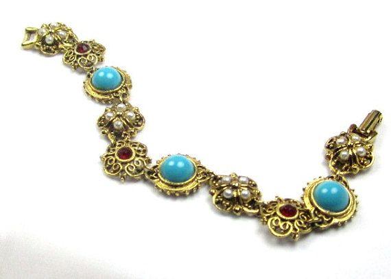 ART Aqua Pearl Rhinestone Bracelet 1960s Vintage by OurBoudoir, $85.00