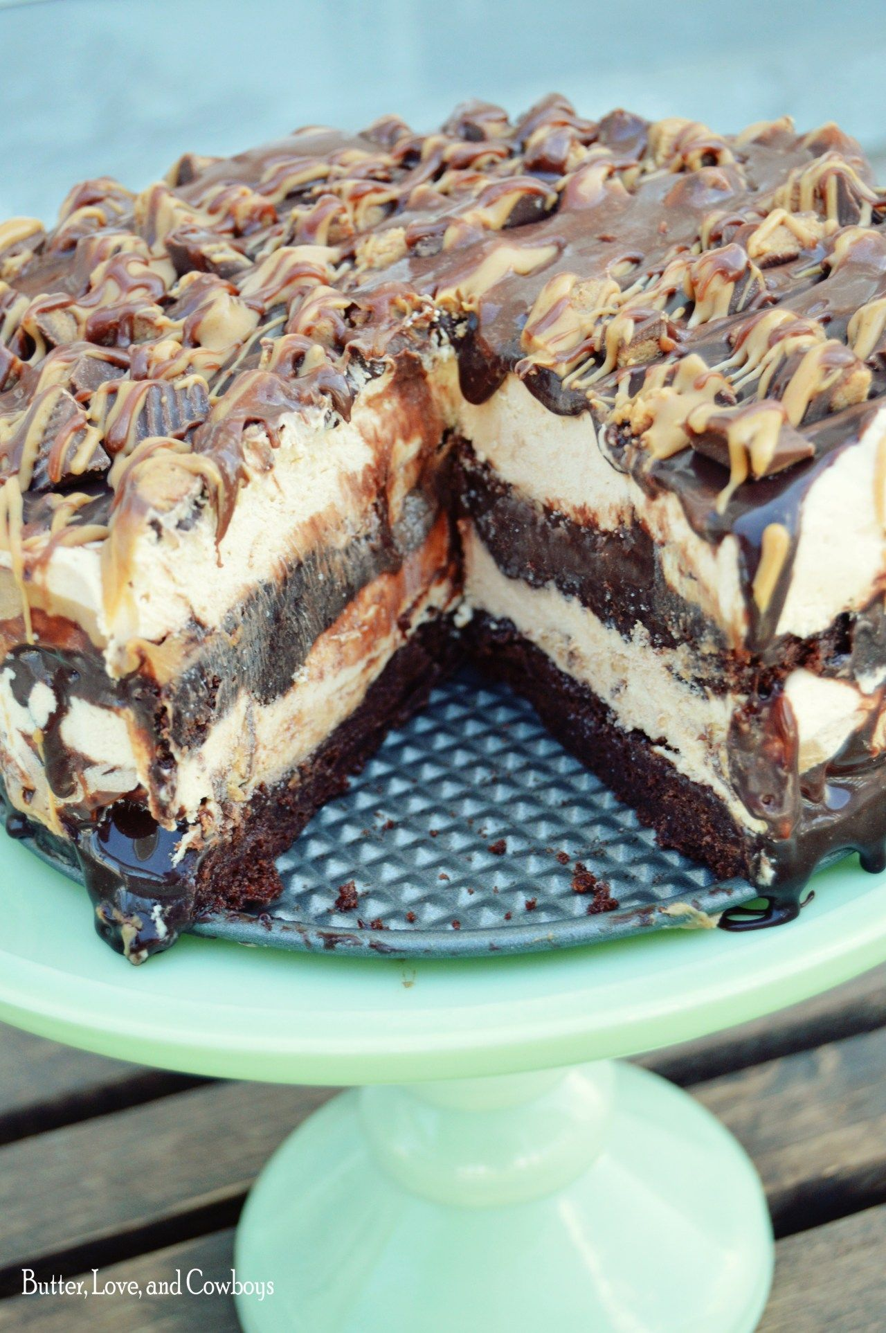 Reese's Peanut Butter Brownie Ice Cream Cake - Butter, Love, and Cowboys