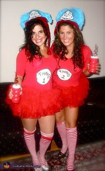 thing 1 thing 2 and the cat in the hat costume - Thing 1 Thing 2 Halloween Costume