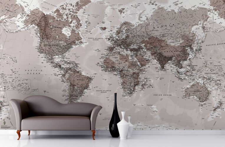 Neutral shades world map wallpaper mural pinterest neutral tones neutral shades world map wallpaper mural gumiabroncs Image collections