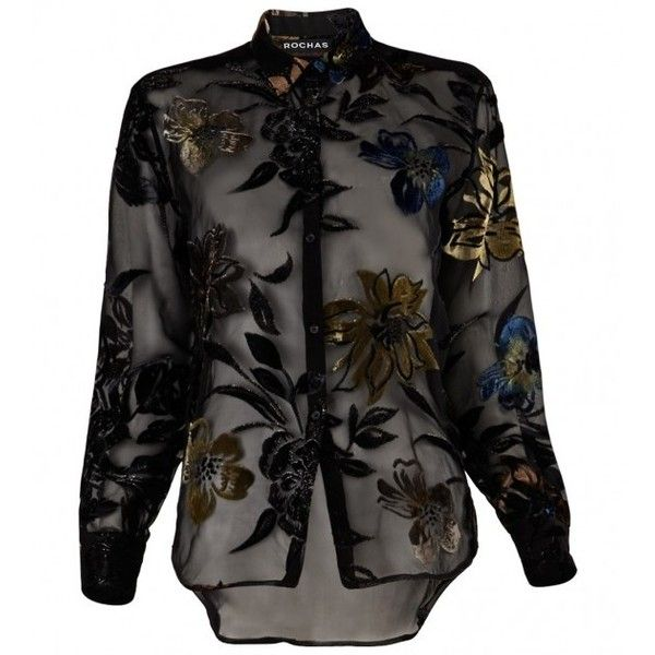 Rochas Black Velvet Floral Blouse (€3.640) ❤ liked on Polyvore featuring tops, blouses, see through tops, black velvet blouse, velvet blouse, embellished tops and flower blouse