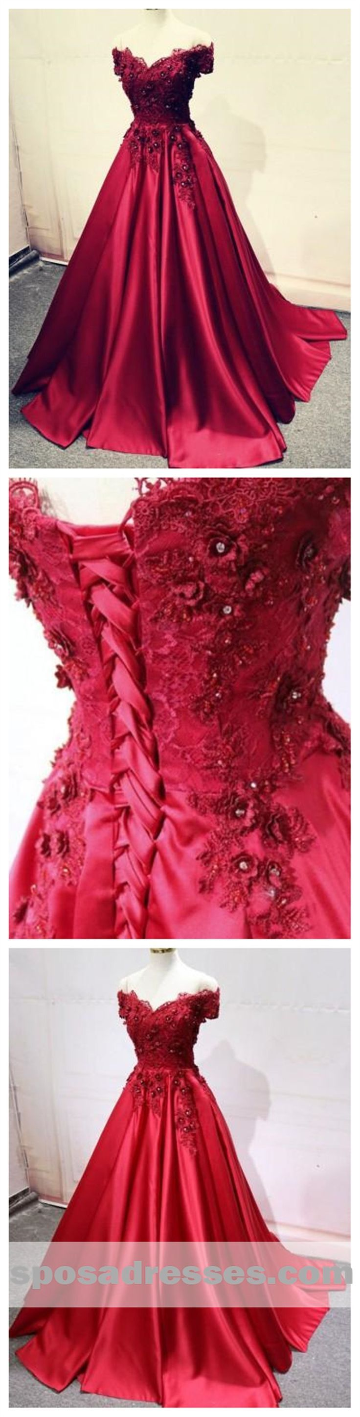 red off shoulder lace long a-line evening prom dresses