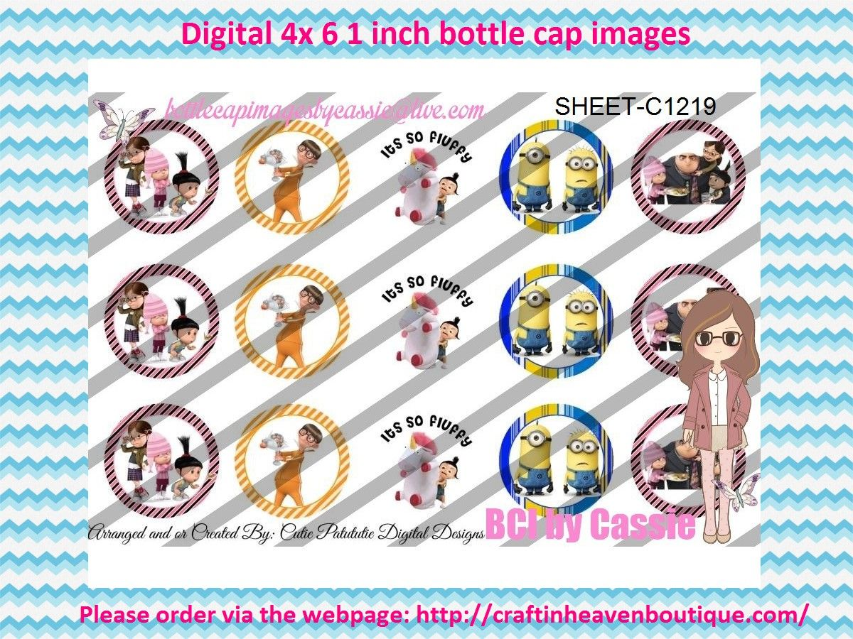 1' Bottle caps (4x6) Digital Despicable Me C1219  CARTOONS/KIDS BOTTLE CAP IMAGES #cartoons #inspired #kids #bottlecap #BCI #shrinkydinkimages #bowcenters #hairbows #bowmaking #ironon #printables #printyourself #digitaltransfer #doityourself #transfer #ribbongraphics #ribbon #shirtprint #tshirt #digitalart #diy #digital #graphicdesign please purchase via link  http://craftinheavenboutique.com/index.php?main_page=index&cPath=323_533_42_54