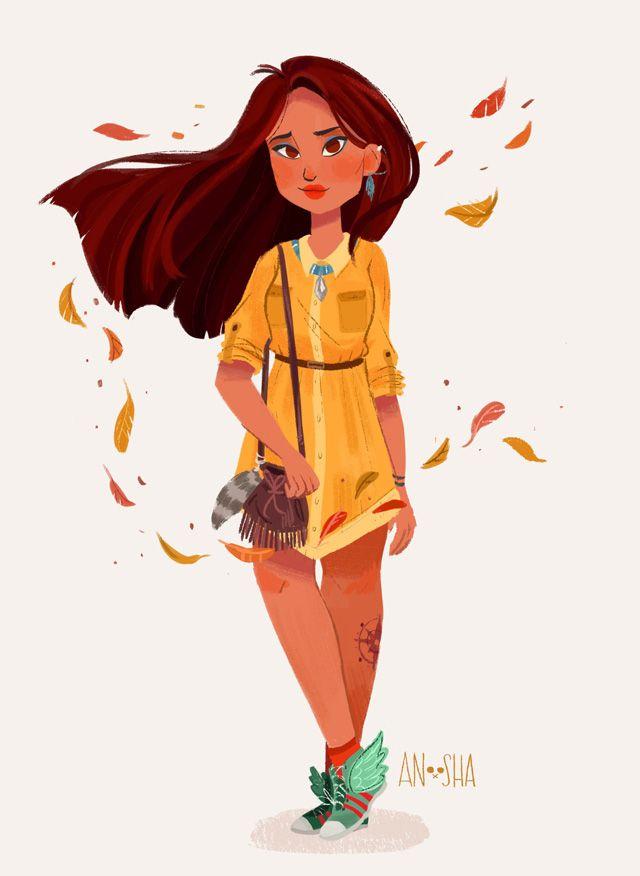 Certes, l'exercice n'est pas nouveau. On se souvient de la sérié d'illustration des héros Disney en étudiants d'aujourd'hui signée par l'illustrateur espagnol Hyung. Dans le même esprit, voici les héroïnes Disney de l'artiste Canadienne Anoosha Syed. Quand la Petite Sirène, Belle, Jasmine ou Merida sont à la mode de chez nous. Un selfie ma belle…