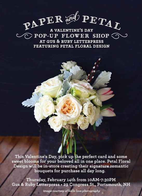 A Valentine S Day Pop Up Flower Shop At Gus Amp Ruby