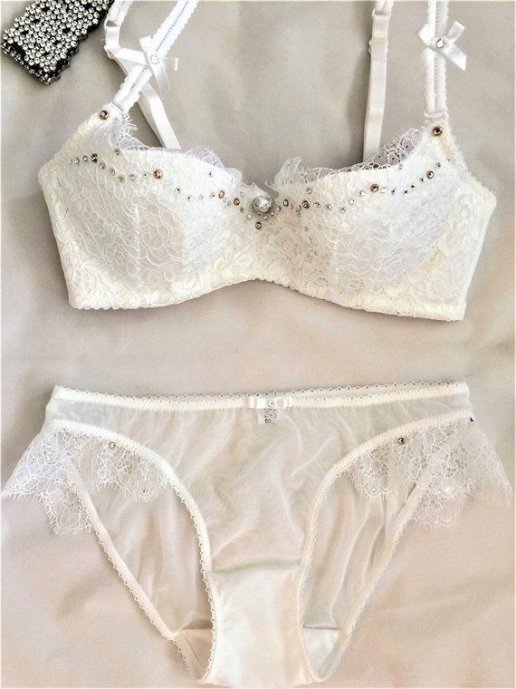d1b4b231847180 White Lace Swarovski Crystal Bra and Panties Set 32C