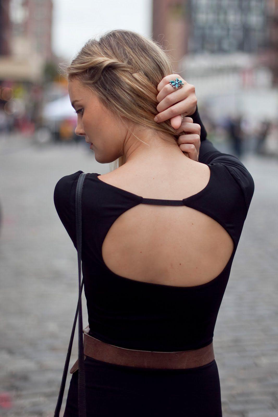 black dress, open back