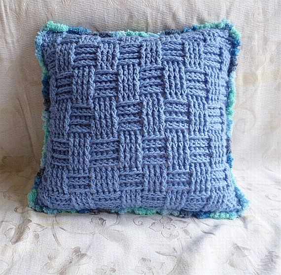 Crocheted decorative pillow cover - blue confetti. Ready to ship. VISIT & BUY AT: http://www.etsy.com/listing/127991455/crocheted-decorative-pillow-cover-blue?ref=shop_home_active