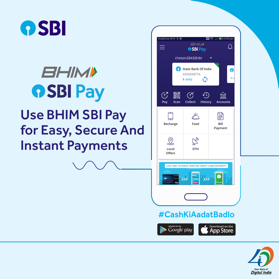 Why Use Cash When You Can Make Easy And Secure Payments With Bhim Sbi Pay Download The App Today Android Https Pla Digital India News India Bank Of India