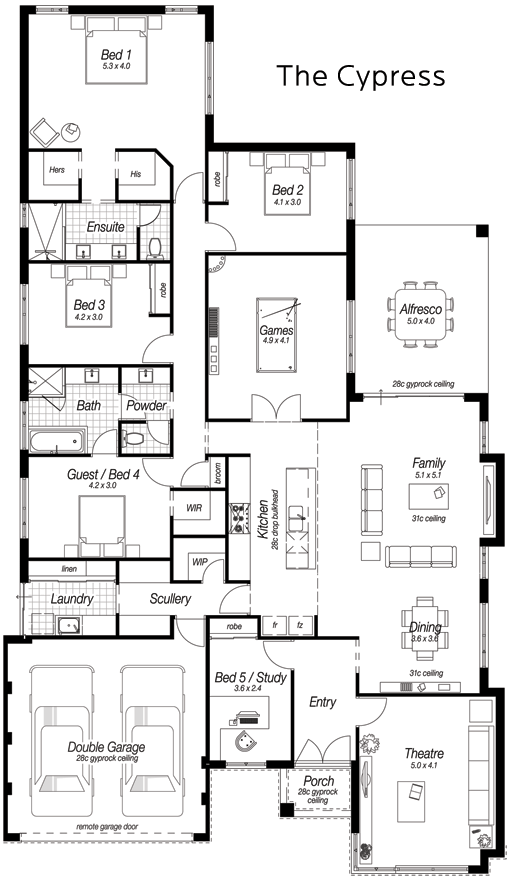 5 bed New Home Designs Perth | The Cypress | Ross North Homes ...