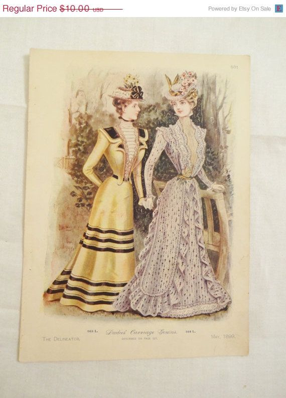 Cij Sale Vintage Fashion Print The Delineator By Chellestreasure 7 50 Fashion Prints Historical Fashion Vintage Fashion