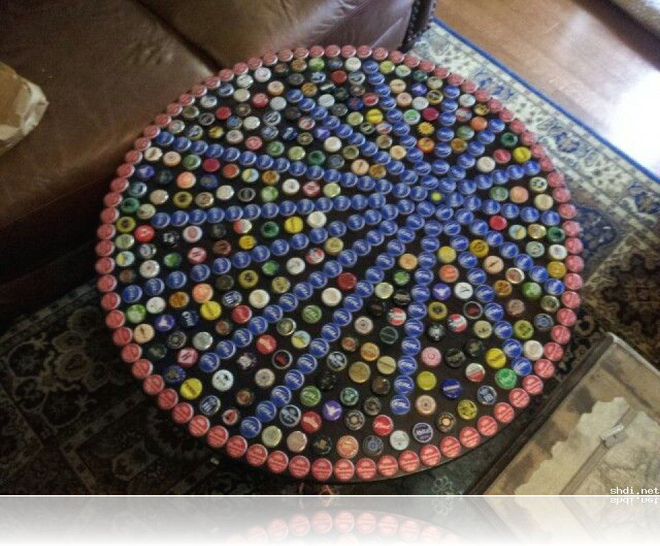 image of bottle cap table designs set reciclaje
