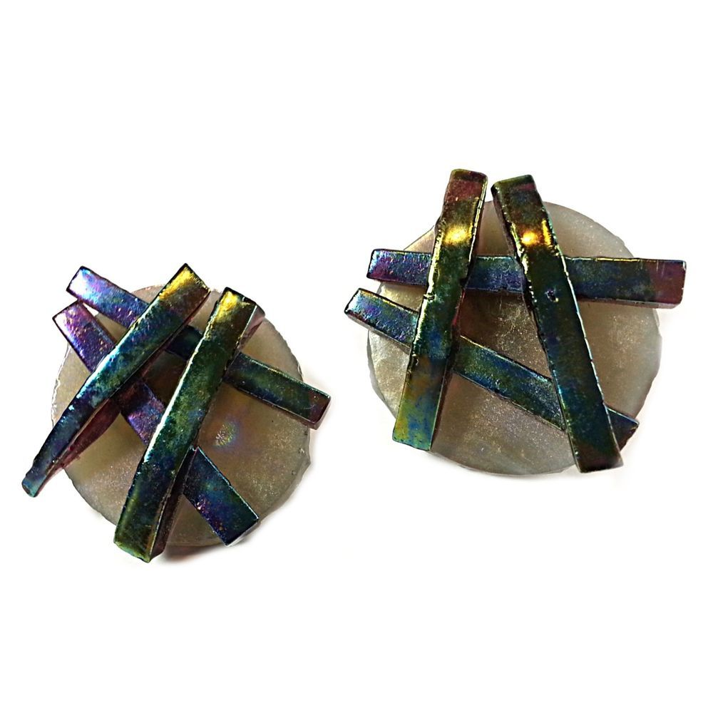 Oil Slick Art Glass Earrings Retro Iridescent Geometric Rainbow Round e419 #Unbranded #Huggie