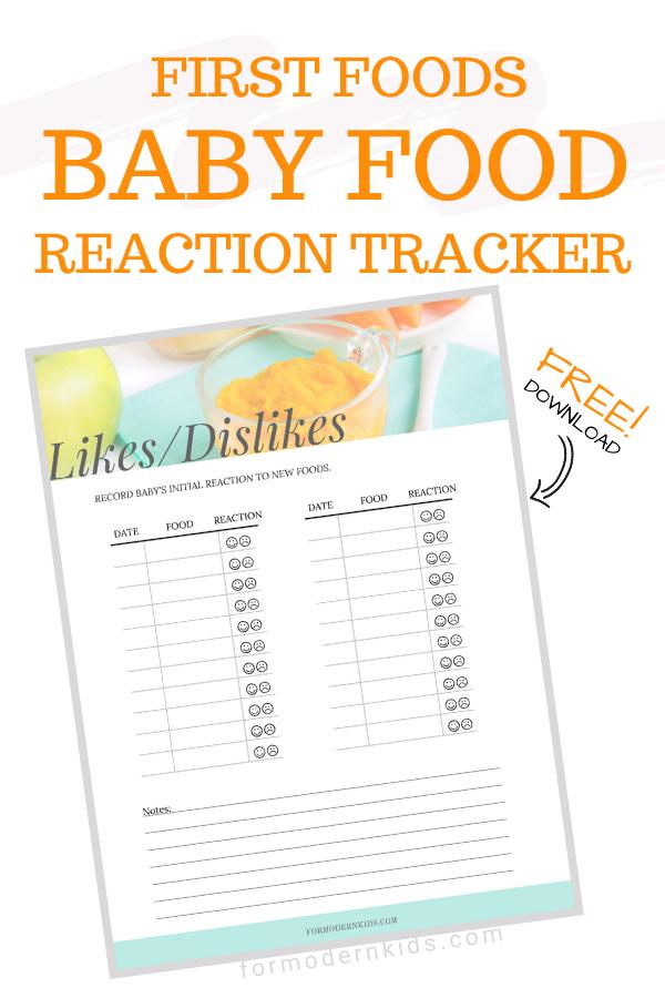 Baby Food Likes And Dislikes Reaction Chart Baby Food Recipes Baby Food Chart Food Tracker