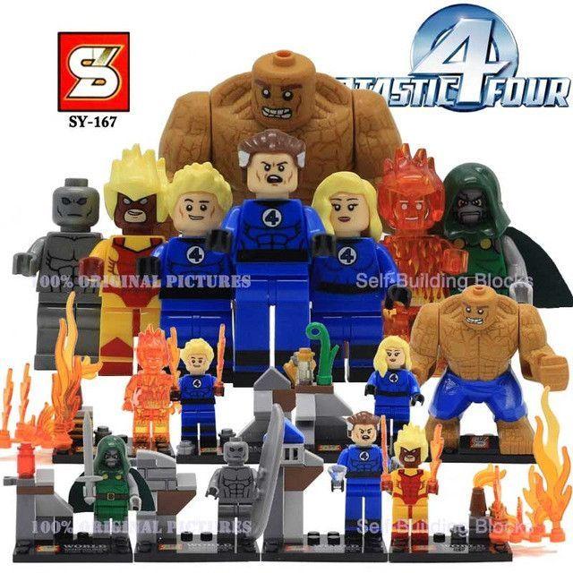 Set of 4 Fantastic Four and Spiderman Minifigures Super Hero Building Block Toys