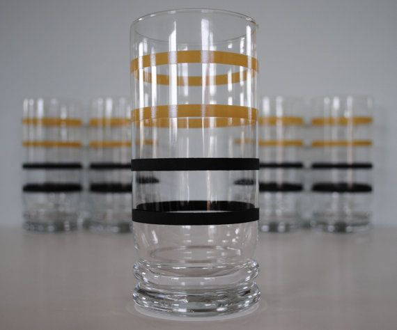 Black and Tan Striped Libbey Glasses