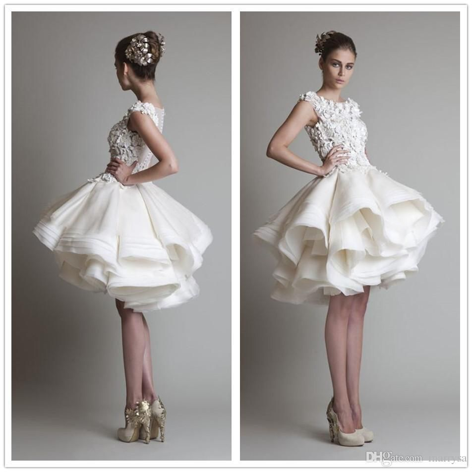 Krikor Jabotian Evening Dresses Lace Organza Tiers Puffy Short