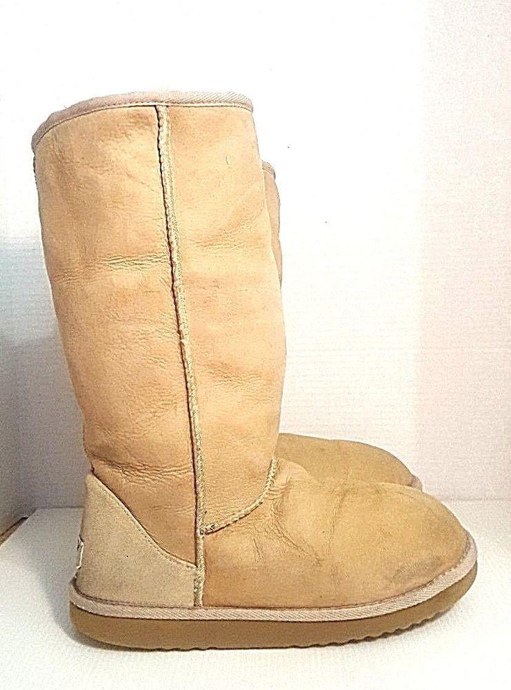 17c37085193 UGG Australia Classic Tall Tan Sheepskin Boots 5825 Women's Size W9 ...
