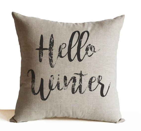 Hello Winter Throw Pillow Winter Pillow Anniversary By AmoreBeaute Amazing Winter Throw Pillow Covers