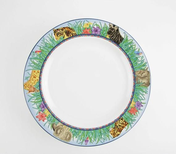 Four 'Jungle' Pattern 10 3/4 Dinner Plates - Gabbay  - Animals in the Grass - Geometric Pattern Rim #junglepattern