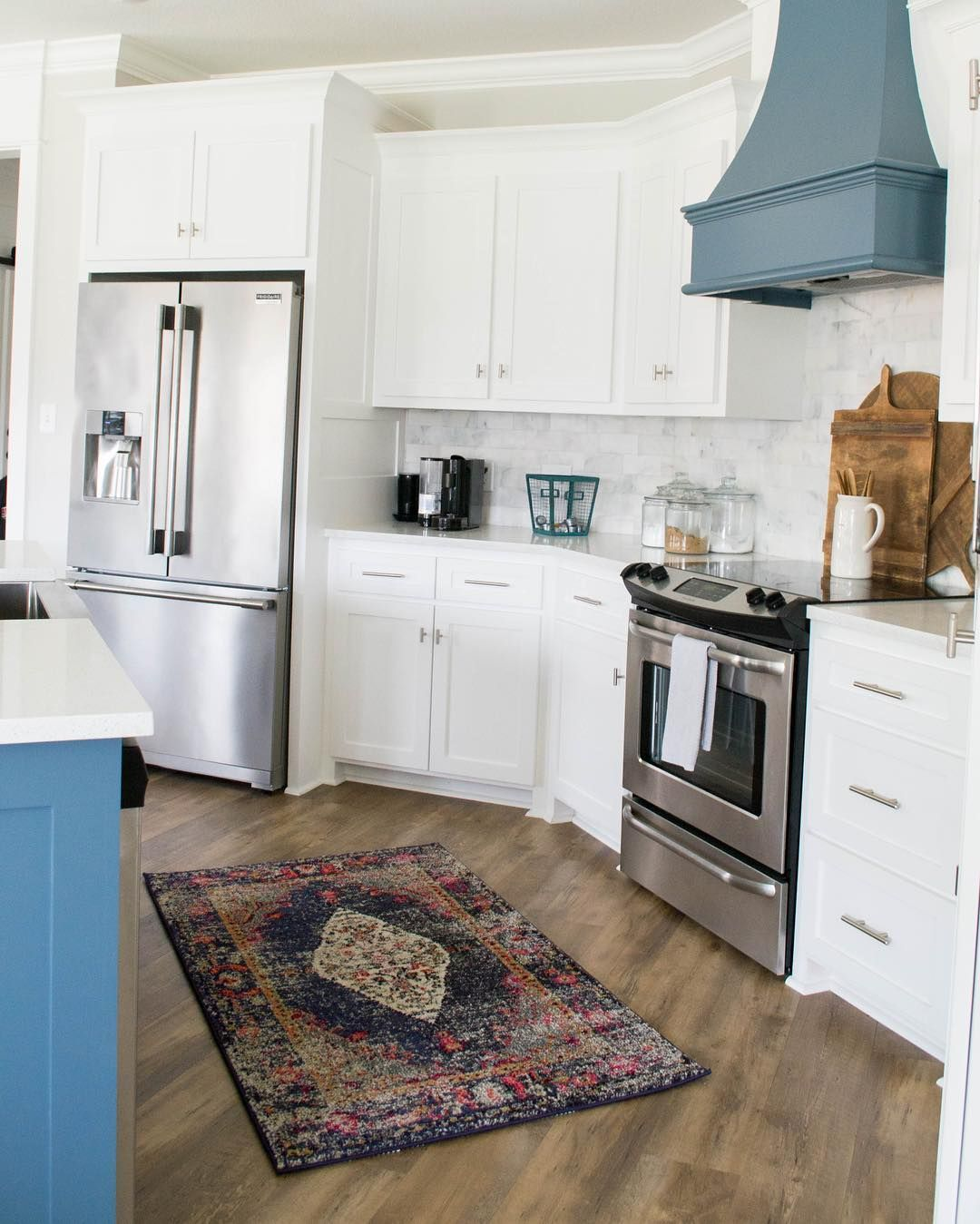 kitchen design modern farmhouse fixer upper style navy blue kitchen island marble subway ti on farmhouse kitchen navy island id=48617
