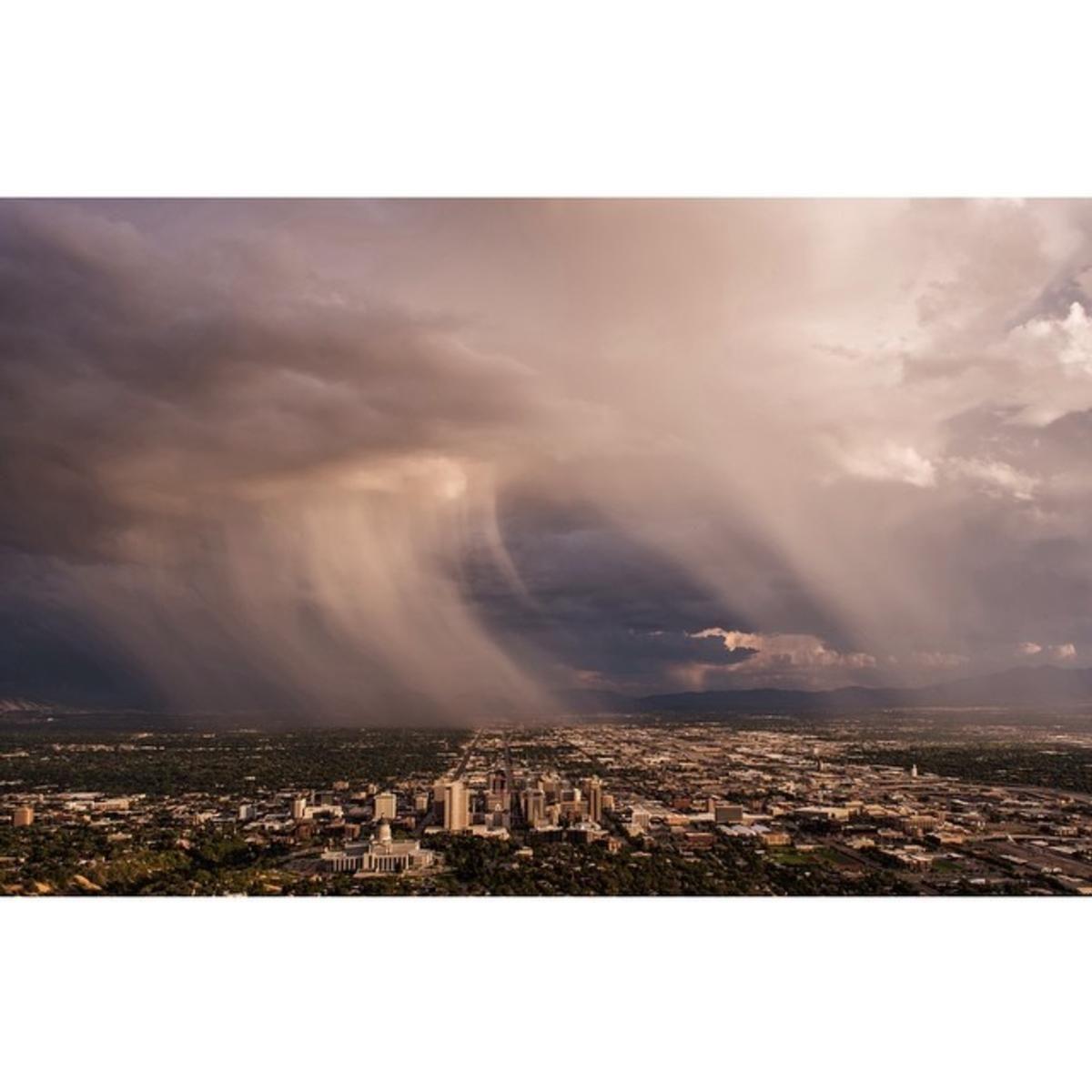 A Purple August Storm Over Salt Lake City Visitsaltlake Saltlakecity Utah Storm Summer Rain Lake Photography Salt Lake City Lake