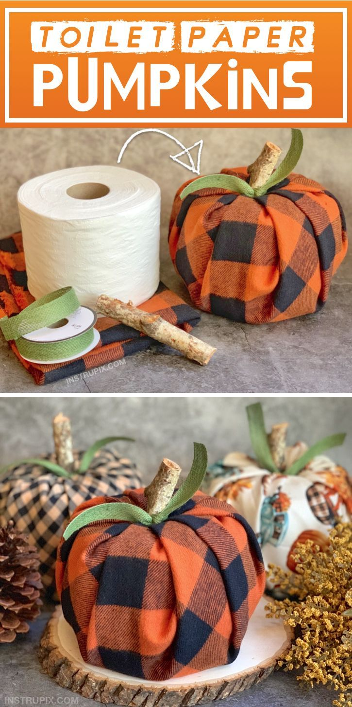 DIY Fall Craft Idea (Cheap & Easy Toilet Paper Pumpkins) Looking for fall projects for the home? These DIY pumpkins take less than 5 minutes to make! No sewing or skills required. Just wrap a roll of toilet paper with fabric and use a stick with a ribbon tied around it for the stem. They're incredibly cute and fun to make. #toiletpaperrolldecor