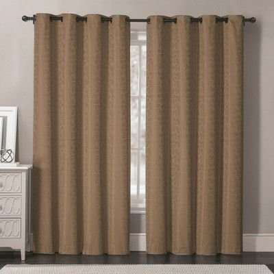 Luxury Home Samantha Thermal Blackout Single Curtain Panel Color: Taupe