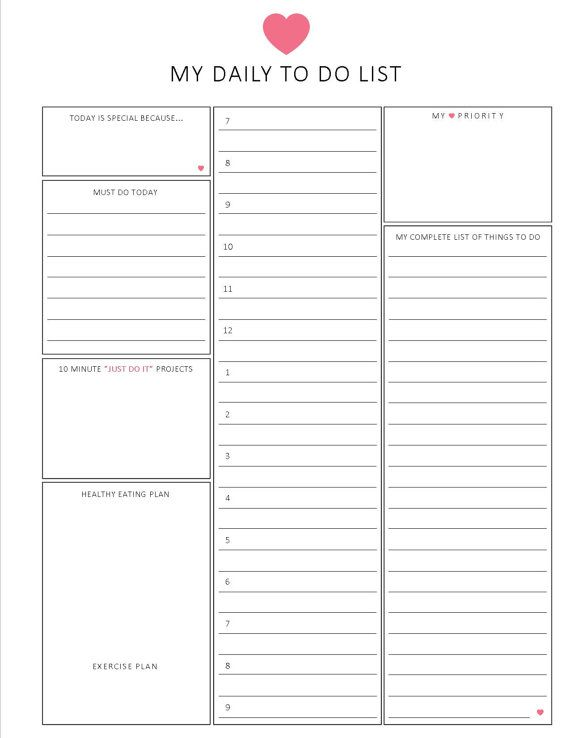 daily to do list / HOURLY format / 8.5 x 11 by lizzieloucreations ...