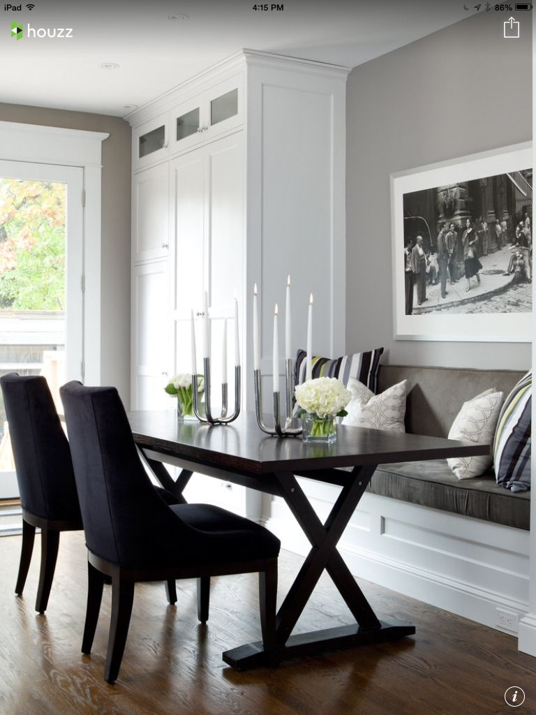 Kitchen table with bench seating and chairs  Pin by Anika Caban on Make me a Banquette  Pinterest  Banquettes
