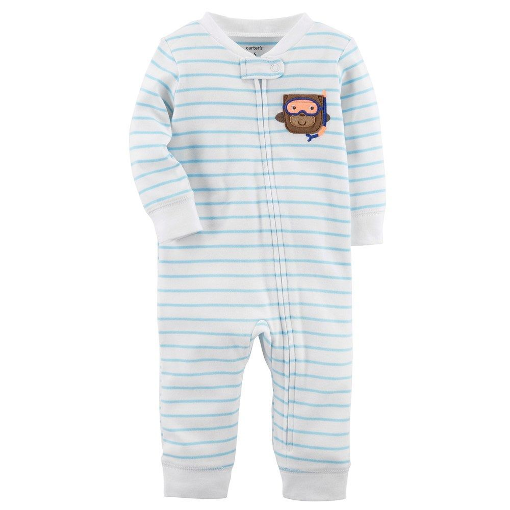 c94a2c72ce4a Carter s Baby Boy Monkey Striped One-Piece Footless Pajamas in 2019 ...