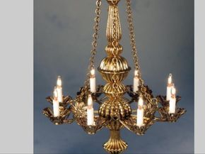 "Dollhouse Miniature Lighting Electrical CHANDELIER /""Jacqueline/"" BRASS"