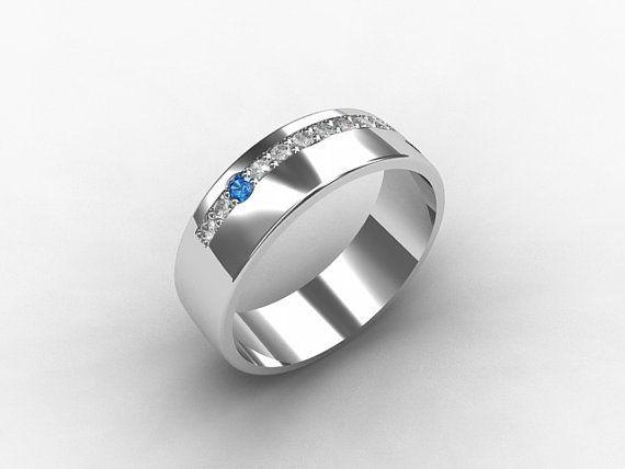 blue diamond ring palladium wedding band unique wedding ring mens wedding band