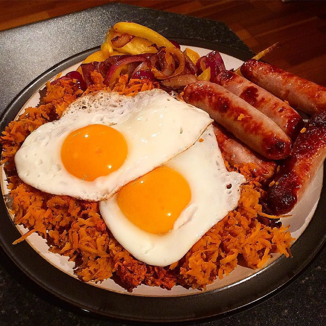 Rest Day Sweet Potato Hash Eggs And Sausages With Fried Onions And Peppers Calories