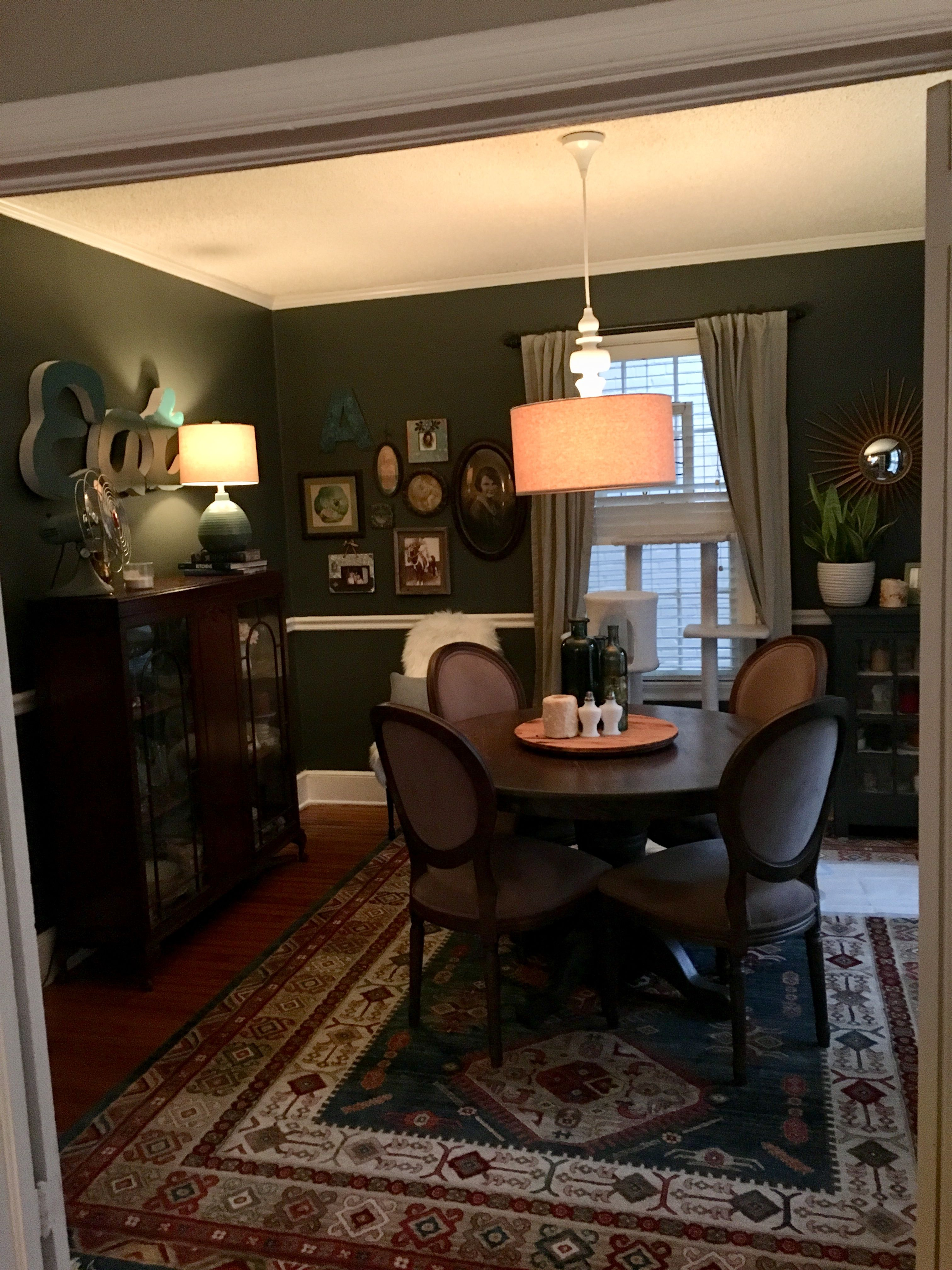 New dining room Sable evening valspar Pillow to right west elm