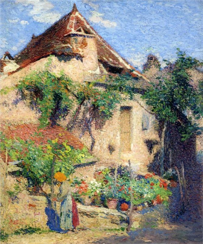 French Pergola in Autumn Impressionist Henri Martin Counted Cross Stitch Pattern