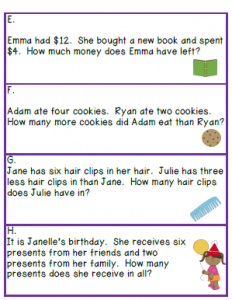 Number Story Sample Page 3 | First Grade | Addition, subtraction ...