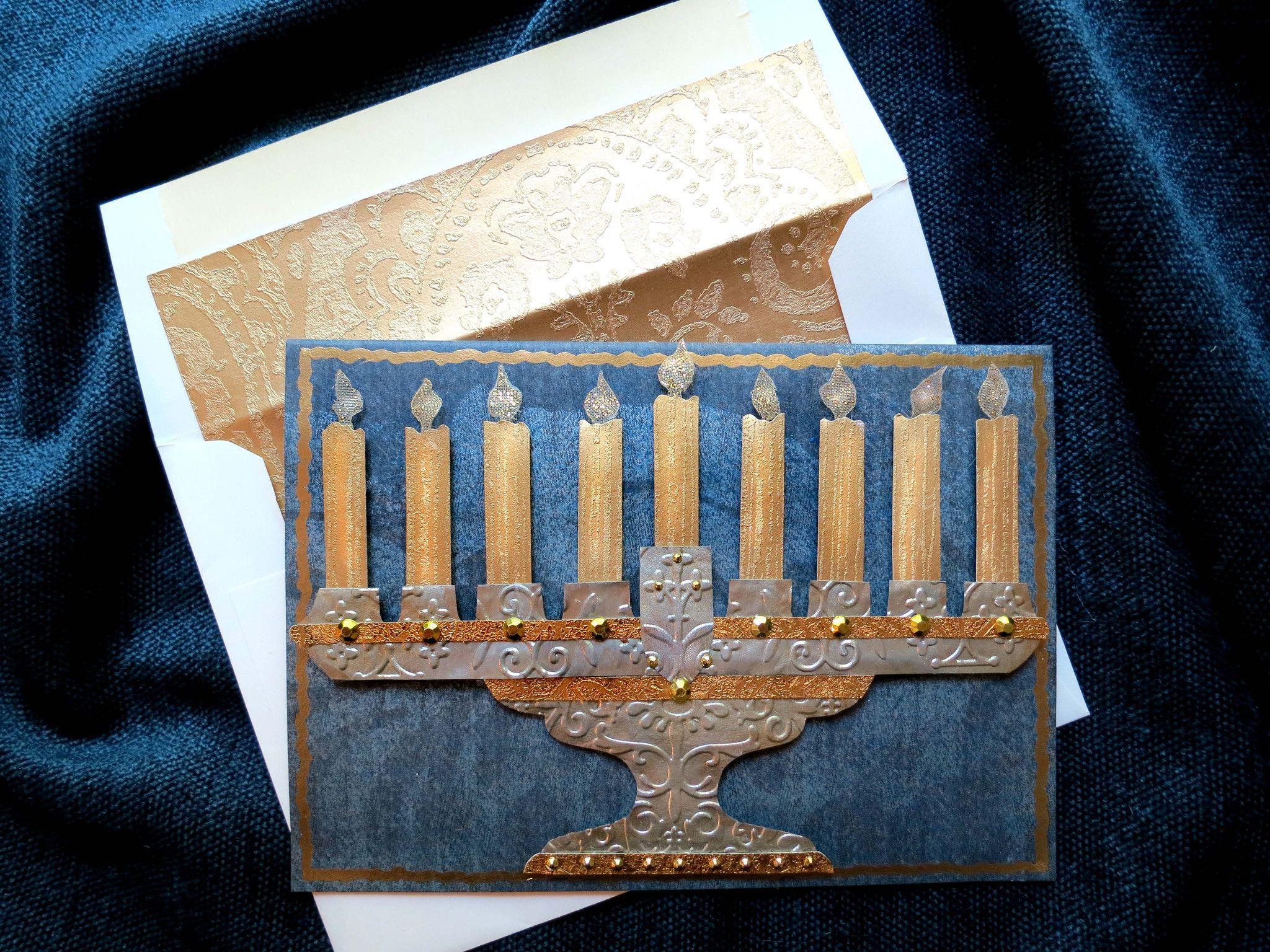 Hanukkah Menorah Card Menorah Card Hanukkah Card Rosh Hashana