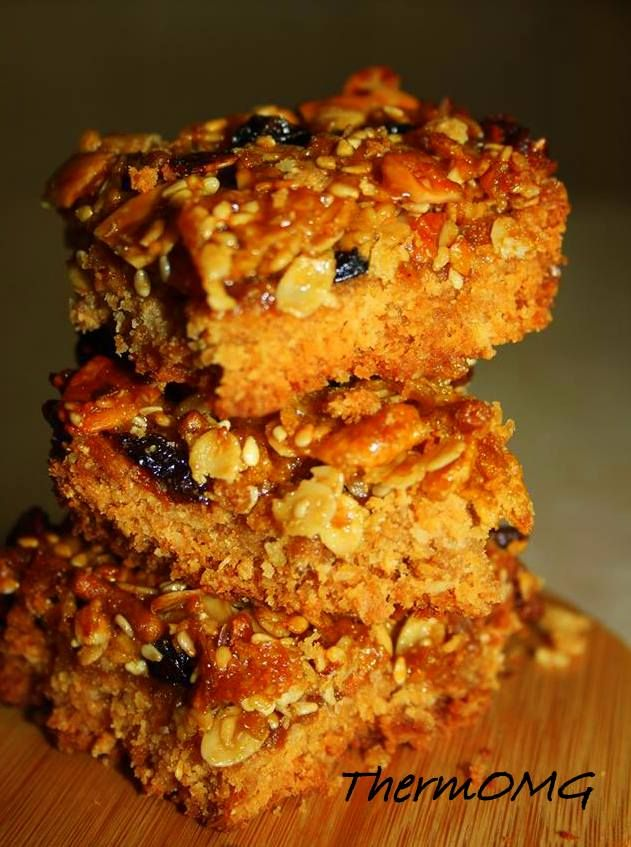 Print this recipe      * 125g Wholemeal SR flour     * 85g Desiccated coconut     * 110g Brown sugar     * 1 weetbix     * 180g Butter  Topping      * Any left over cereal you   have! I used 1/2 cup cornflakes, 1 cup       muesli, 1/2 rice bubbles     * 2tbs sesame seeds     * 1/2 cup sultanas     * 90g butter     * 1/4 cup golden syrup     * 1/4 brown sugar    1. Chop butter into cubes and melt for 4 minutes at 80deg at Speed 3.    2. Add all base ingredients and mix speed 6 four 6…