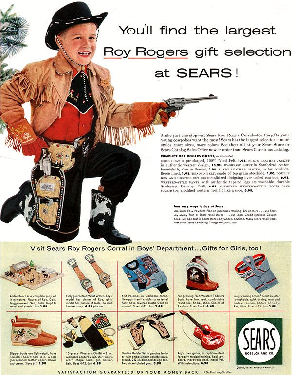 aed80379a3e5c Roy Rogers Christmas Gifts Sears Holster RR Ranch Western Boots Falter 1957  Ad