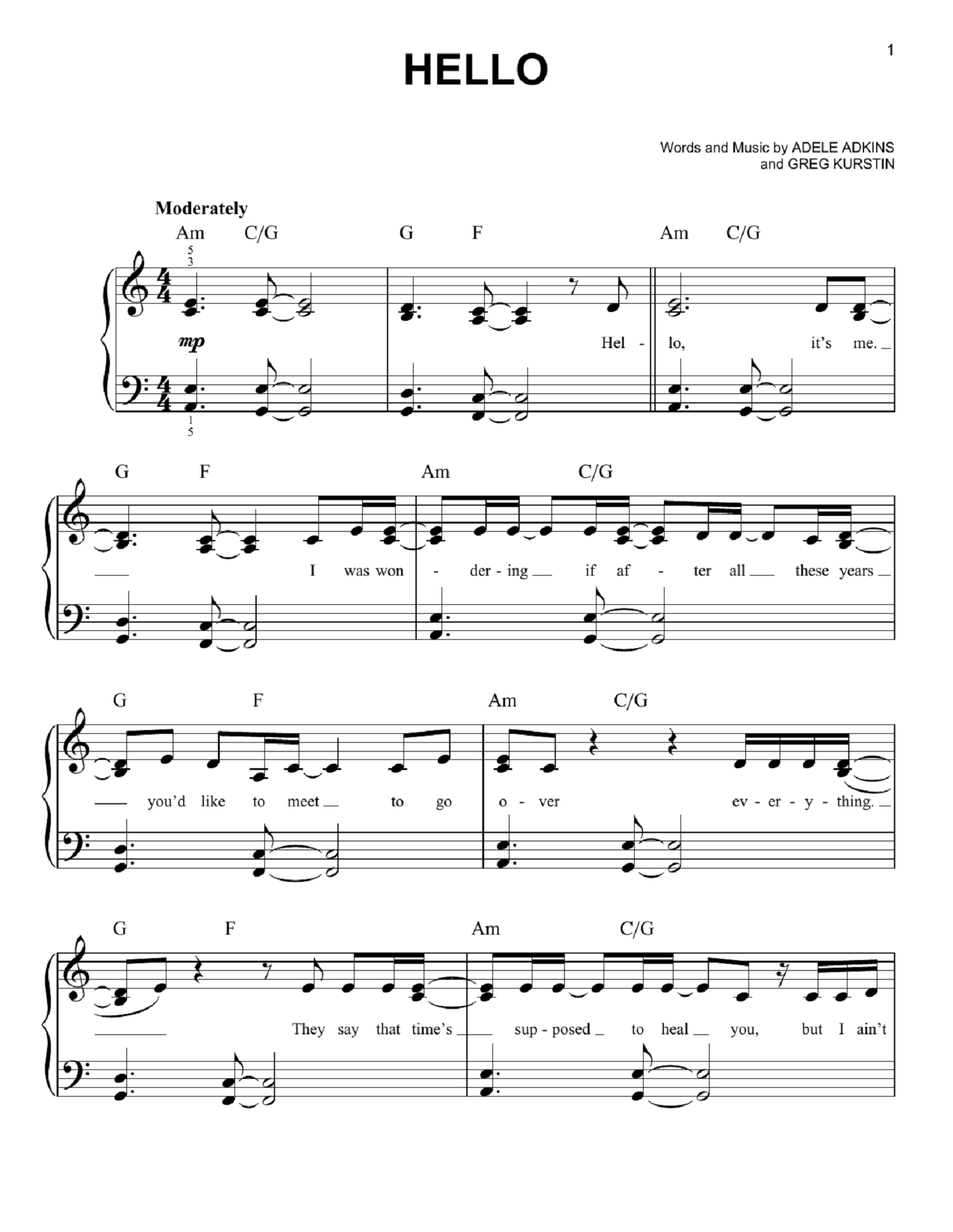 Adele Piano Sheet Music For Best Music Chords Music Sheet