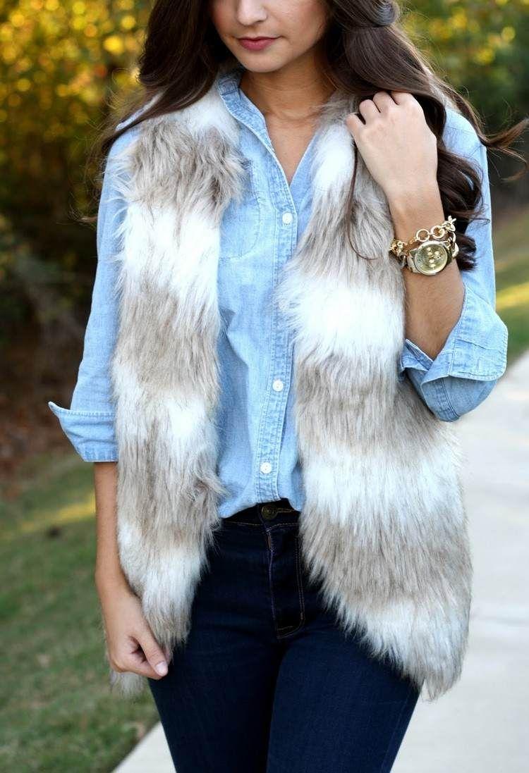 gilet fausse fourrure tendance avec chemise jean femme tendances mode femme  2018  fashion  style  ideas 1c652920f3d